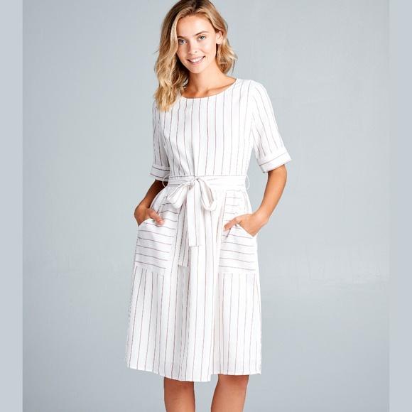 8c31810692f Ivory   Rust Striped Tie Waist Midi Dress